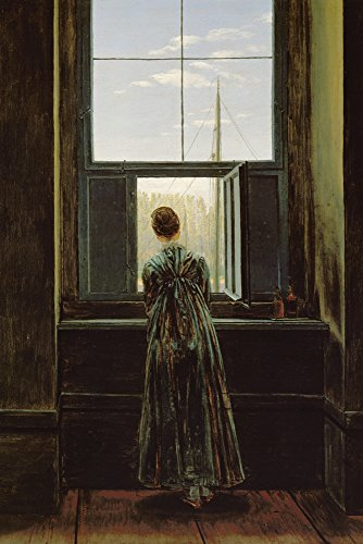 Artland Alte Meister Kunst Wandtattoo Caspar David Friedrich Bilder Romantik 60 x 40 cm Frau am Fenster Kunstdruck Klebefolie Gemälde R0LU