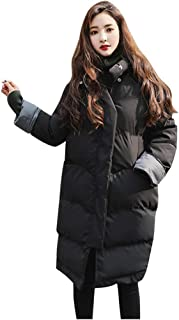 Doric Womens Winter Long Lapel Parka Jacket Solid Color Loose Thickened Warm Padded Jackets