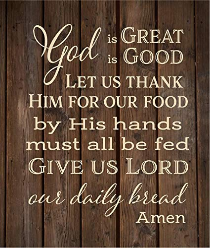 Sar54ryld God is Great God is Good Give us Lord Our Daily Bread Amen - Cartel de Madera o Lienzo