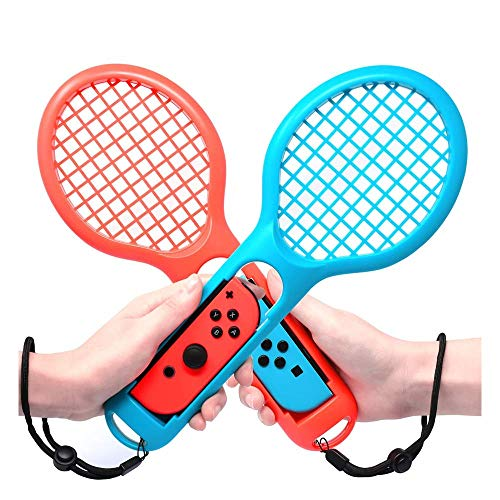 FiiMoo Raqueta de tenis para Nintendo Switch 【 2pzs 】 Joy Con Controller Grip Sports Game Accesorios para Mario Tennis Aces (Azul & Rojo)