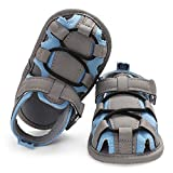 SOFMUO Baby Boys Girls Closed-Toe Sandals Breathable Athletic Soft Sole Anti-Slip Infant Summer Toddler Beach Walking Shoes (Grey&Blue,6-12 Months)