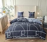 Ropa de cama geométrica de 135 x 200 cm, azul, 2 piezas, funda nórdica de dos piezas con cremallera, diseño geométrico moderno, reversible, para jóvenes y jóvenes