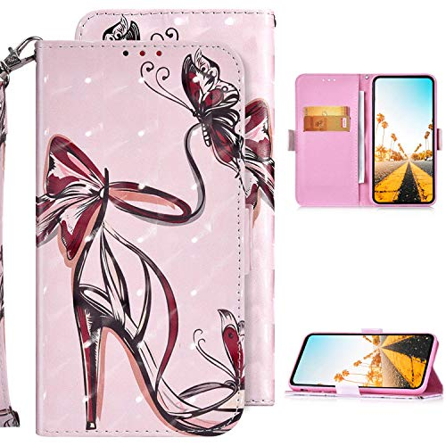 Kompatibel mit Samsung Galaxy A20S Hülle Ledertasche Klappbar Geldbörse Tasche,Glitzer Glänzend PU Leder Brieftasche Handyhülle mit Standfunktion Flip Wallet Case für Galaxy A20S,High Heels