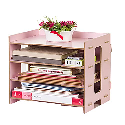 Ladieshow Estante de escritorio, clasificador de archivos, escritorio de documentos, organizador ordenado, estante de almacenamiento, soporte de bandeja, suministros de papelería de oficina(Rosado)