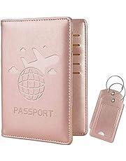COCASES RFID Bloqueo de la Billetera del Titular del Pasaporte, Etiquetas de Equipaje, Cubierta de Pasaporte Multiusos Funda de Billetera de Viaje Premium de Cuero PU Oro Rosa