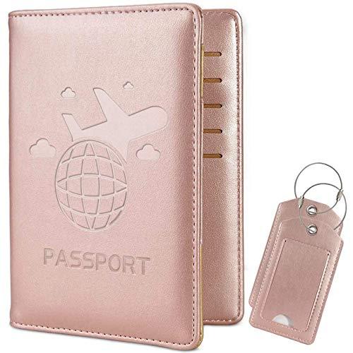 COCASES Porta Passaporto da Viaggio Portafoglio in PU Ecopelle Porta con Protezione RFID per carta di credito ID Documenti Custodia con 2 Bagagli Tag(Rose d'Oro)