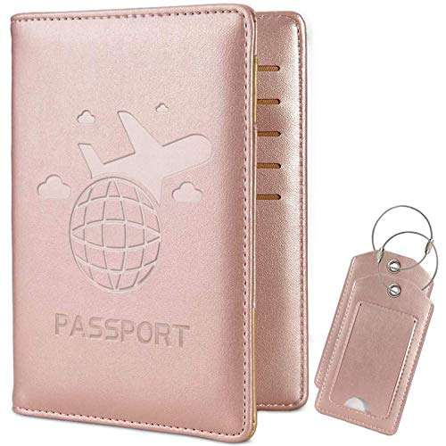 COCASES Passport Holder, RFID Blocking PU Leather UK and European Passport Cover Case with 2 Luggage Tags (Rose Gold)