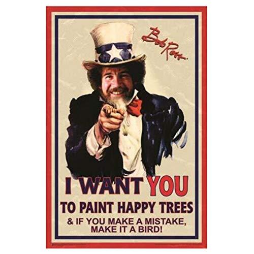 hutianyu Bob Ross - Ich Will Dich Onkel Sam Poster Dekorativer Wanddruck auf Leinwand -40x60cm ohne Rahmen