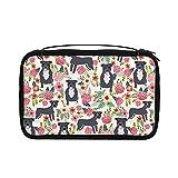Bolsa de aseo transparente para mujer, bolsa de viaje con gancho para colgar accesorios de artículos de tocador (Pitbull Floral Dog Raza Pibble Pitbulls)