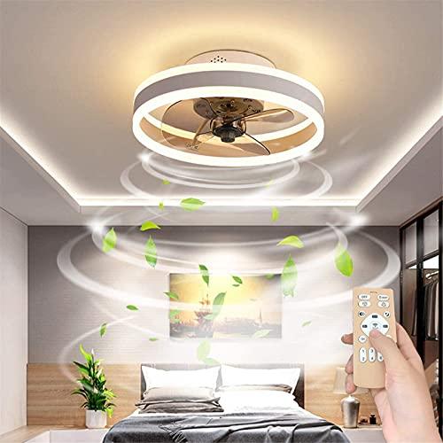 Reversible Led Ventilador Techo Con Luz Silencioso Y Mando 6 Velocidades Dormitorio Lamparas Ventilador De Techo Salon Moderno Regulable Pequeño Luz Techo,Blanco,50cm