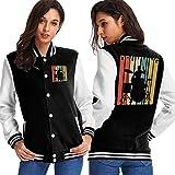 BYYKK Chaquetas Ropa Deportiva Abrigos, Vintage Style Drumming Drummer Women's Long Sleeve Baseball Jacket Baseball Cotton Jacket