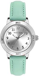 Girls Watches Ladies Watch for Gift Students Watches for Girls Simple Japanese Movement Casual Leather Band Watches for Kid Ladies Fashion Women Watches (Green)
