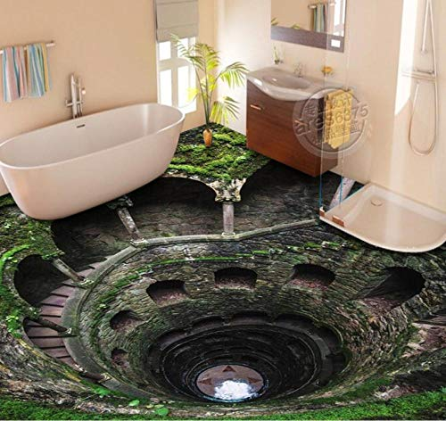 Suelo 3D baño personalizado suelo 3d escaleras murales autoadhesivos a prueba de agua creativo 3d-400 * 300cm