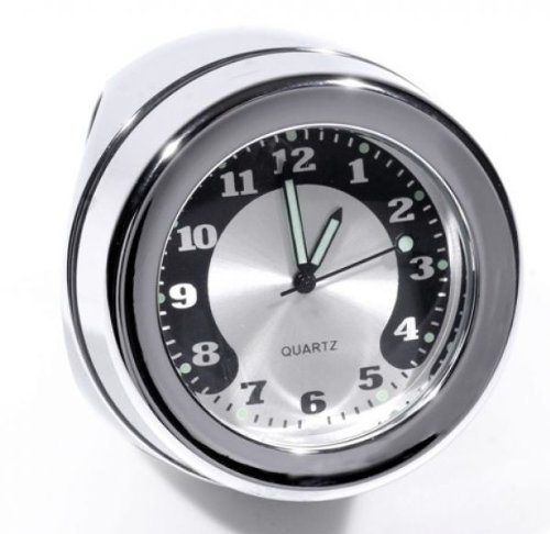 """Lenkeruhr 1-1/4\"""" 32mm Metall Chrom Big Motorrad Uhr großes Ziffernblatt Harley"""