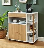 BAïTA Max Küchentrolley, weiß und Eiche, 80 x 39 x 85 cm