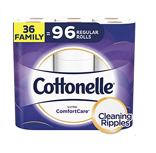 Cottonelle Ultra ComfortCare Toilet Paper, Soft Bath Tissue, 36 Family Rolls+