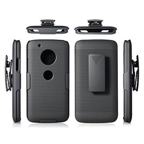 MICROSEVEN Compatible with Motorola Moto G5 Plus Case, Moto G Plus (5th Generation) Black Rubberized Slim Hard Case Cover + Belt Clip Holster for Moto G5 Plus (Black Shell Holster)