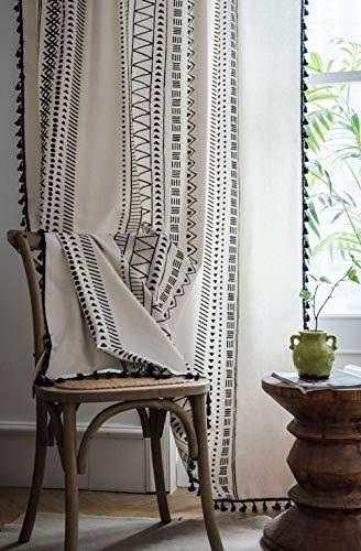 LBHHH Cortinas, Cortinas Bohemias Negras Estampadas de algodón y Lino, adecuadas para salón, Cocina y Dormitorio (tamaño Personalizable)-(Ancho) 150cm * (Alto) 220cm