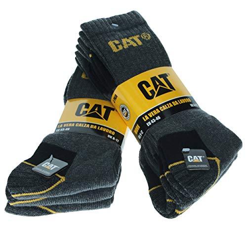 Caterpillar CAT Herren Universal Arbeitssocken, 3|6|9|12 Paar wahlweise, in Schwarz, Blau, Grau und 41-45 | 46-50, Socken (41-45, 6 Paar Grau)