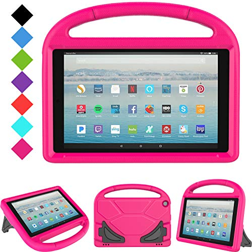 All-New Fire HD 10 2019/2017 Tablet Case - TIRIN Light Weight Shock Proof Handle Stand Kids Friendly Case for Amazon Fire HD 10.1 Inch Tablet (9th/7th Generation, 2019/2017 Release), Rose