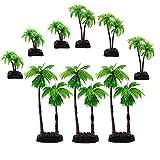 M2cbridge 9pcs Plastic Coconut Tree Aquarium Plants Ornament Mini Resin Artificial Palm Tree