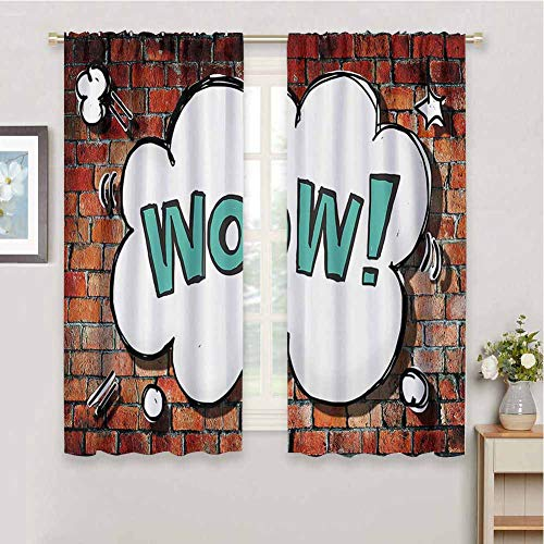 DIMICA Shading Insulated Curtain Rustic Home Decor Red Cracked Brick Wall British Backdrop UK English Pop Art Cloud 90s Grunge Print Sliding Soundproof Curtains W72 x L72 Inch Multi