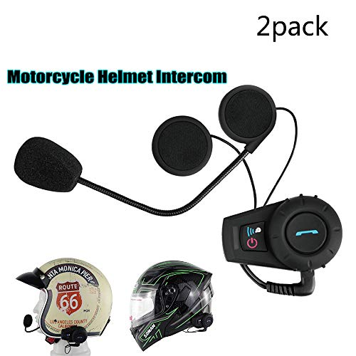 Braveking Motorrad Headset, Bluetooth-Intercom-Kommunikationssystem Für Motorradhelme Sprechzeit des Headsets 10H Jog Dial 500M Sprechreichweite Geräuschpegelkontrolle FM-Radio,2