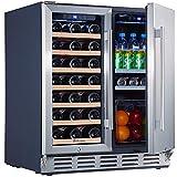Under Counter Wine and Beverage Refrigerator, Kalamera 30 inch Wine Cooler Refrigerator – 2-in-1 Wine Refrigerator for 33 Bottles and 104 Cans – Built in Beverage Refrigerator w/ 40-66℉ & 32-41℉ Temperature Range for Kitchen, Bar, Home – Glass Door and Stainless Steel Door Wine Fridge