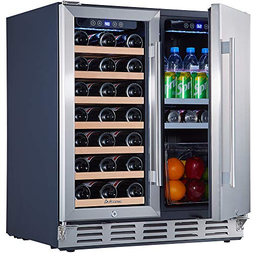 Kalamera 24'' Beverage and Wine Cooler Dual Zone Built-in and Freestanding with Stainless Steel Door - Beer, Wine, Soda And Drink