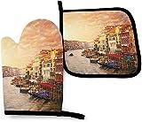 Hermoso conjunto de 2 manoplas y soportes para ollas de cocina con vista al canal de Venecia, guantes de poliéster resistentes, guantes de cocina impermeables para hornear, para cocinar y hornear