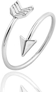METTU Silver and Rose Gold Open Adjustable Love Arrow Ring for Girls