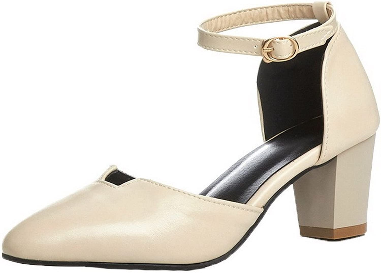 AmoonyFashion Women's Solid Kitten-Heels Round-Toe Buckle Sandals, BUTLT005694