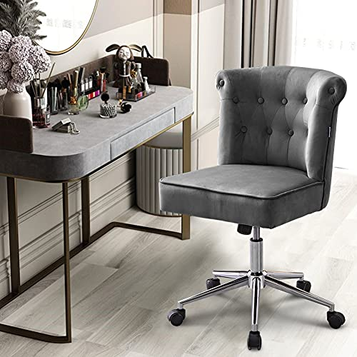 BTGGG Velvet Office Chair Modern Swivel Desk Chair Height Adjustable Armless Task Computer Chair Leisure Chair with Upholstered Seat for Home Office, Grey