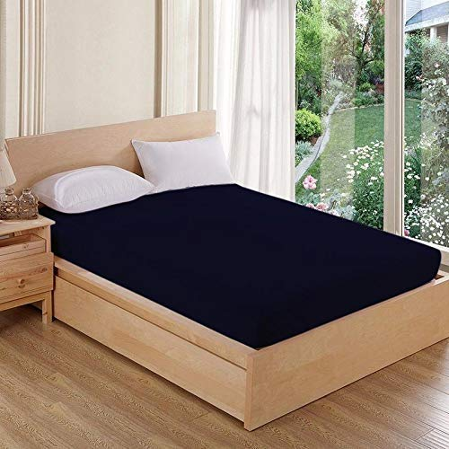 AVI Waterproof Dustproof Terry Cotton Mattress Protector Twin Size Bed - Navy Blue (48 X 72 inches)