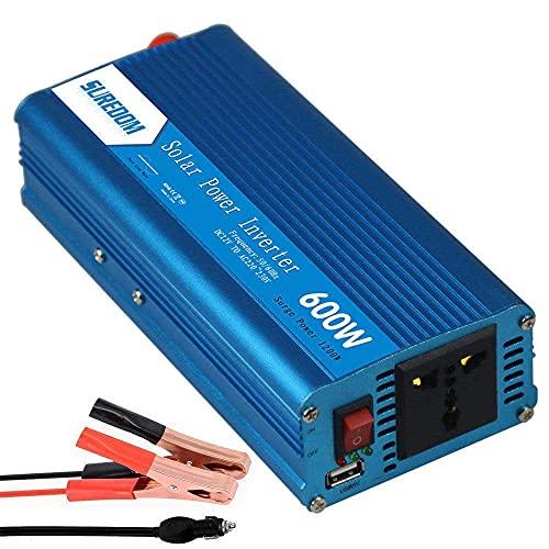 FHISD Inversor de Corriente de Onda sinusoidal Pura 600W / 1200W DC 12V 24V a AC 110V 220V Cargador Convertidor con Toma Universal y Puertos USB Adaptador automático