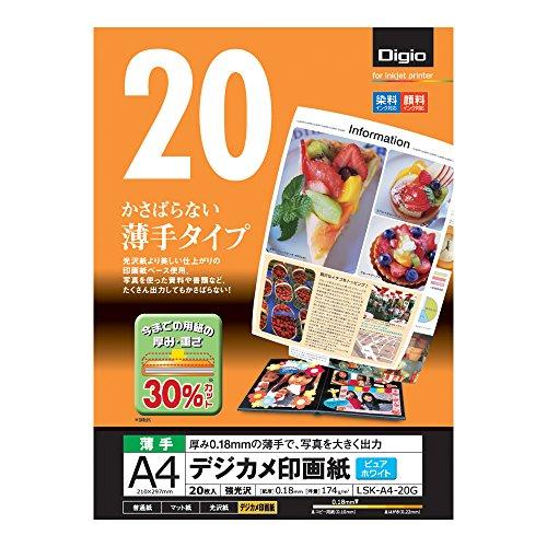 ナカバヤシ デジカメ印画紙・強光沢・薄手/印画紙ベース A4 20枚 LSK-A4-20G