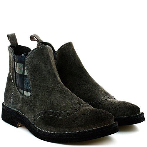 CAF Noir TM502 Gris Zapatos Botas Hombre Beatles Inglés
