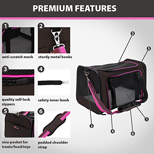 Soft-Sided Pet Travel Carrier, Airline Approved Dog Cat Carrier for Medium Puppy and Cats