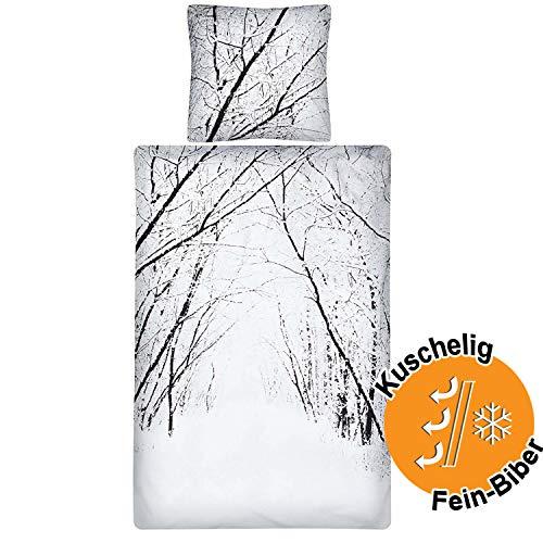 Aminata Kids Premium Biber-Bettwäsche-Set Winter-Landschaft 135x200 cm + 80x80 cm, Weihnachten, Damen, Männer, Paare, aus Baumwolle mit Reißverschluss, Winter-Wald-Motiv, Weihnachtsmotiv, weiß, warm