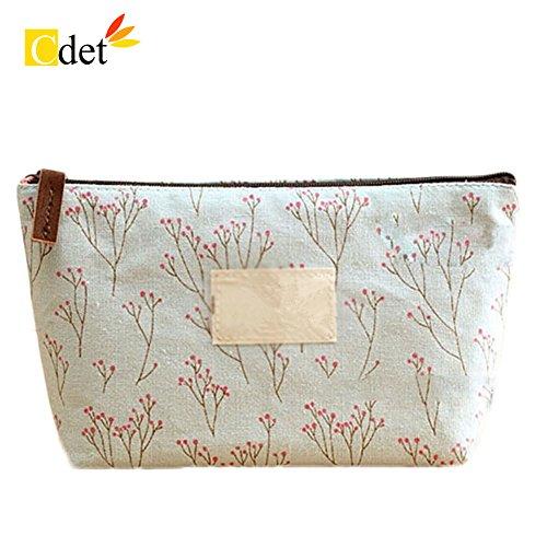 Cdet Bolso de cosméticos Estilo pequeño Floral Cosmetic Bag Floral Pack de Gran Capacidad Mujer,Azul