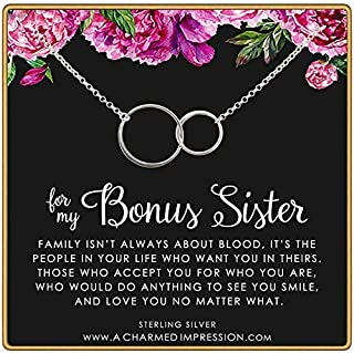 Bonus Sister Necklace • Two Connected Circles • 925 Sterling Silver • Sister in law • Bride or Groom Sister • Adopted • Stepsister Best Friend • Friendship Love Gift • Appreciation Gratitude Jewelry