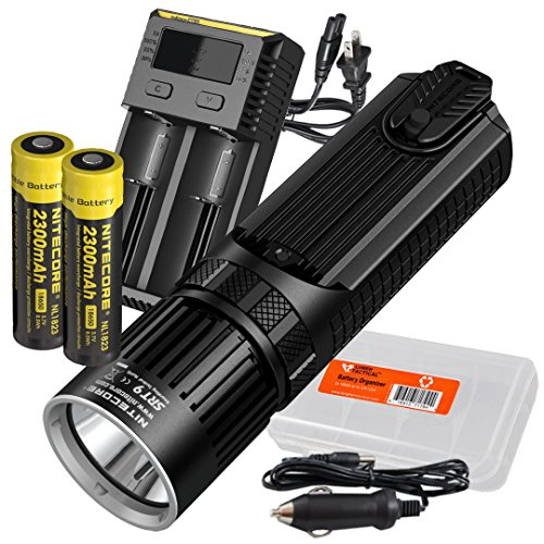 Nitecore SRT9 2150 Lumen Multi-LED Smartring Tactical Flashlight (White, Red, Blue, Green, UV) Plus 2X 2300mAh Rechargeable Batteries, i2 (2016) 2-Port Charger, LumenTac Battery Organizer