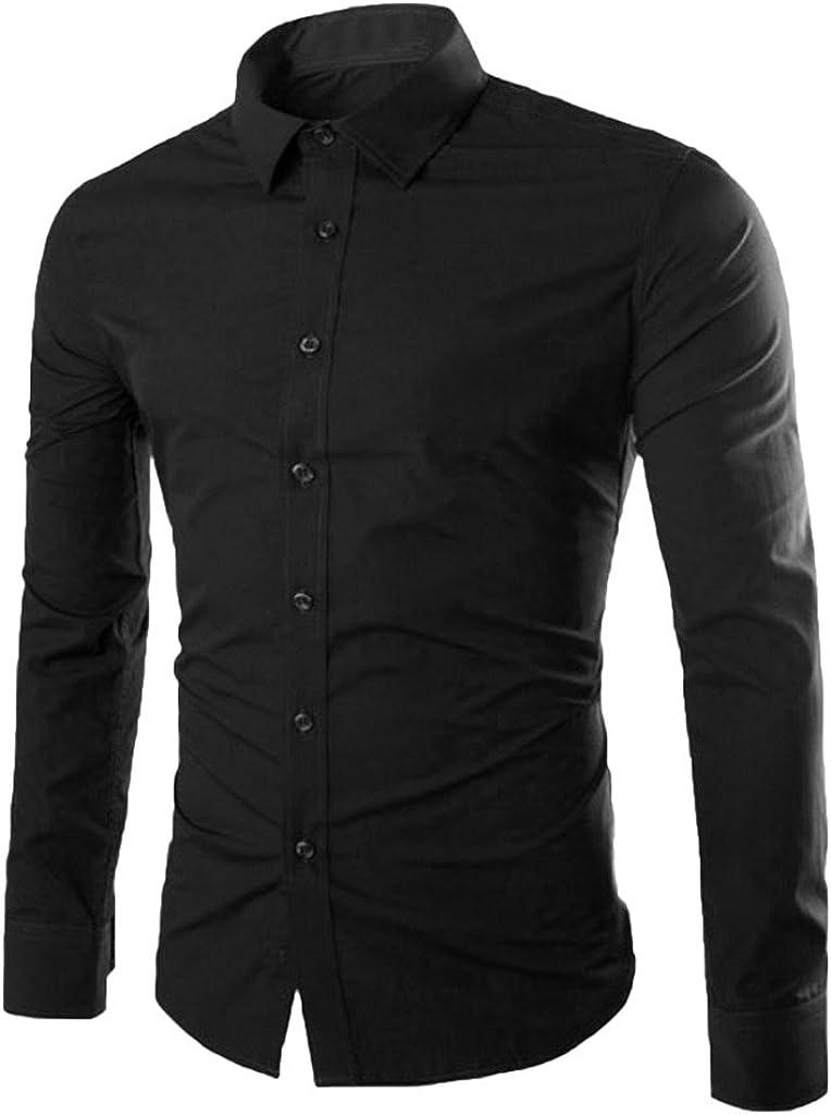 Elonglin Mens Stylish Casual Dress Shirts Long Sleeve Solid Color