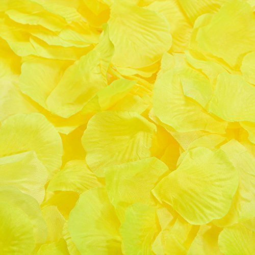 Vsolucky 5000pcs Lemon yellow Silk Rose Petals Wedding Confetti Artificial Flower Petal for Wedding Favor Baby Shower Party Centerpieces Decoration