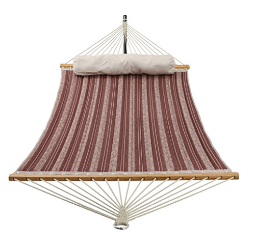 Patio Watcher 11 Feet Quilted Fabric Hammock with Pillow, Double Hammock with Bamboo Wood Spreader...