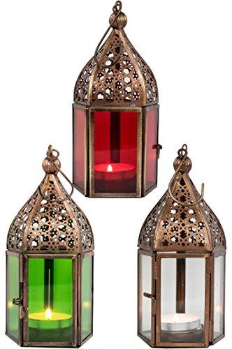 Orientalische Laternen 3 Set Laterne Meena bunt 16cm | 3x Orientalisches Windlicht aus Metall & Glas in 3 Farben | Marokkanische Glaslaterne für draußen als Gartenlaterne in Rot - Klar - Grün