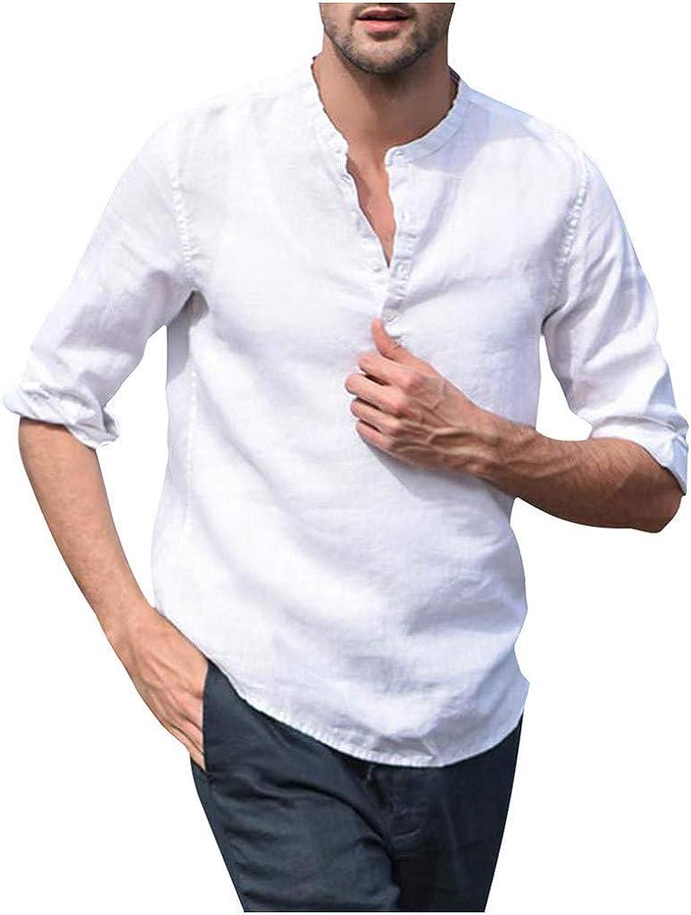 Damen Kragen Bluse Hemd Long Arm Linen Lose Lässig Knopf Plain Vintage Shirt Top
