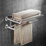 Tangkula Wall Mounted Bathroom Shelf with 2-Tier Towel Bars, 24 Inch Stainless Steel Towel Shelf, Polished Mirror Finish, Home Hotel Toilet Double Layer Bathroom Shelf