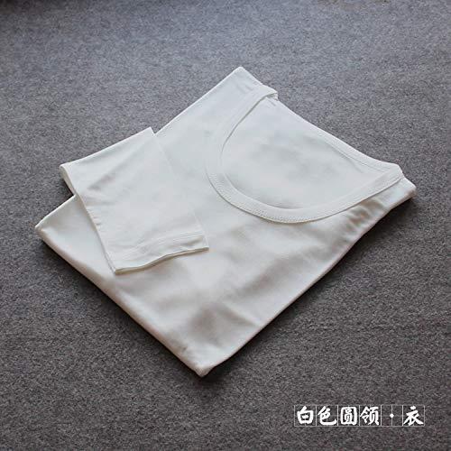 RSL Mannen herfst en winter van zijde met ronde hals uit zijde gebreid rond de hals van Tokar-shirt, warme pakken Qiuyiqiuku (Kleur: wit ronde halsband, Maat: L)