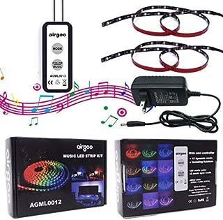 虹LEDテープ -(2017新型) 防水 高輝度 RGB LEDテープ カラー 音楽が活性化饰り用デスク、多機能有線コントローラ、24時間の顧客サポート、30日間の返金、1年保証